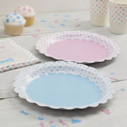 Pink & Blue Paper Party Plates - Pack of 8